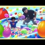 HUGE EGGS HUNT SURPRISE TOYS CHALLENGE Gaint Ball Pit Huge pool Chocolate Egg Disney Cars Toys Train