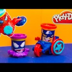 PLAY DOH Marvel Disney Play Doh Spiderman Captain America Can head Play Doh Video Toy Review