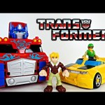 Giant Rescue Bots Optimus Prime Rescue Trailer Transformers 17″ Semi Truck Playskool Heroes DCTC