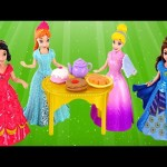 Magiclip Cinderella Castle Dress Swap Disney Princess Frozen Anna Ariel Mini Barbie Dolls Play Doh