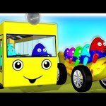 Learn Colors with Surprise Eggs 3D for Kids – Color Bus Toy Banana Car Giant Slide Indoor Playground