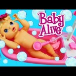 CRAZY Baby Alive Bath Time Fail and Peeing Baby Doll Parody with Bathtub Furniture by DisneyCarToys