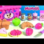 Elsa goes Shopping with Minnie Mouse Bowtastic Basket Food Velcro Set Fruit Bakery Cutting Playset