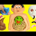Cutting Open Mr Doh Cheerios Belly with Poo Slimer and Squishy Toys
