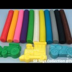 Play and Learn Colours with Play Doh Modelling Clay with Car Airplane Motorcycle Train Tractor Molds