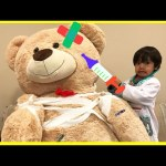 Dr. Ryan farting Giant Bear shot in tummy Doctor Check up syringe injection pretend play