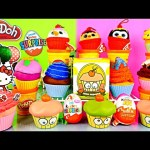 Play Doh Surprise Cupcake Desserts Toys Kinder Joy Eggs DCTC Playdough Videos For Children