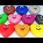 Learn Colors with 10 Color Play doh Hearts and Molds