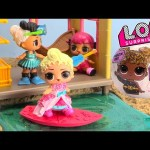 LOL Surprise Dolls In Woodzeez Surfing Tiki Hut Beach Dig Surprises