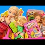 Shopkins Season 2 Shopping With Barbie Kelly Dolls and Disney Princess Doll Kids Toys