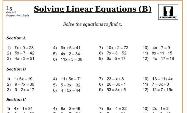 Algebra Worksheets 1