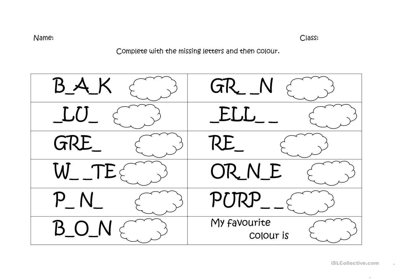 English Worksheets For Kindergarten