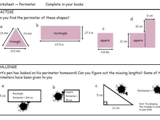Perimeter Worksheets 3rd Grade Free