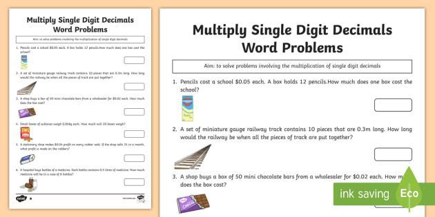 Multiplication Decimals Worksheets Grade 6