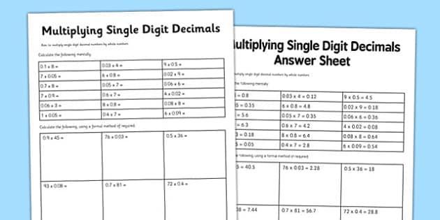 Multiplication Hundredths Worksheet 8