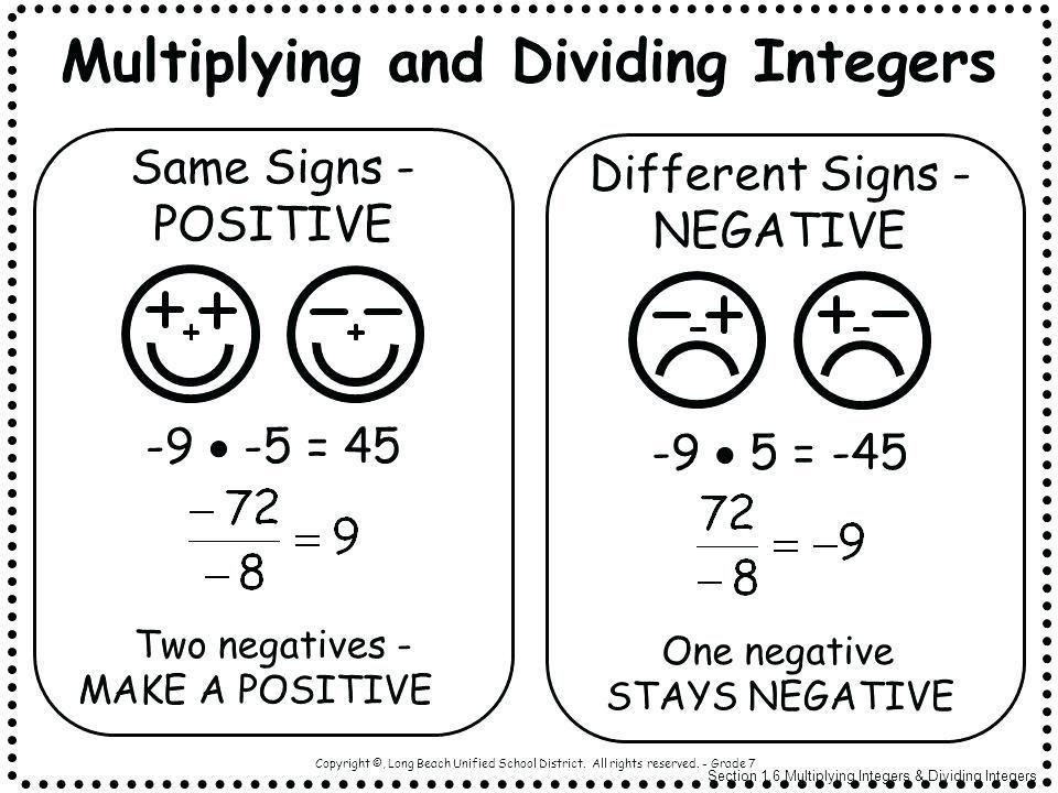 Multiplication Integers Worksheet 167
