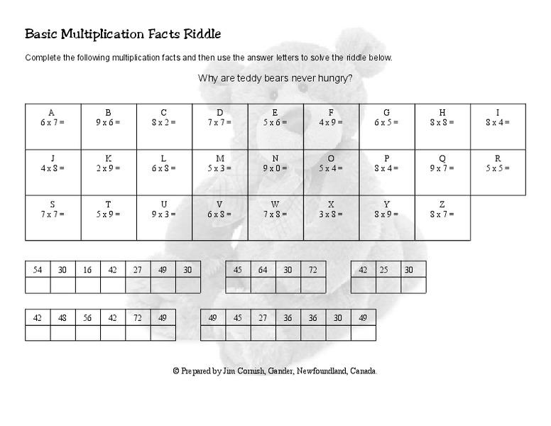 Multiplication Jumble Worksheet 6