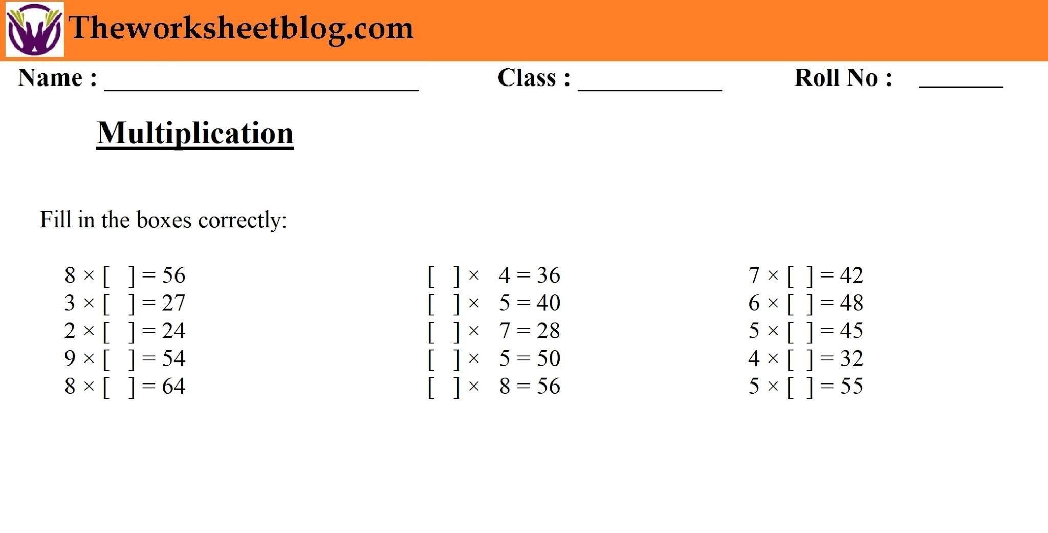 Multiplication Worksheets 1st Grade