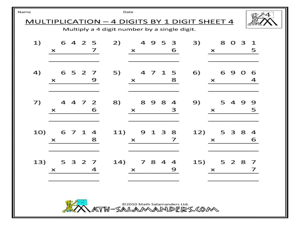Multiplication Worksheets Multiply By 4