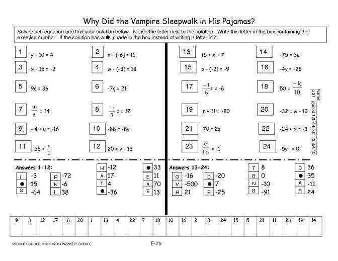 Middle School Math Multiplication Worksheets