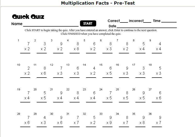 Multiplication Quiz Worksheets 5th Grade