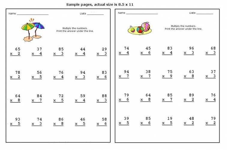 Multiplication Worksheets Large Numbers 3