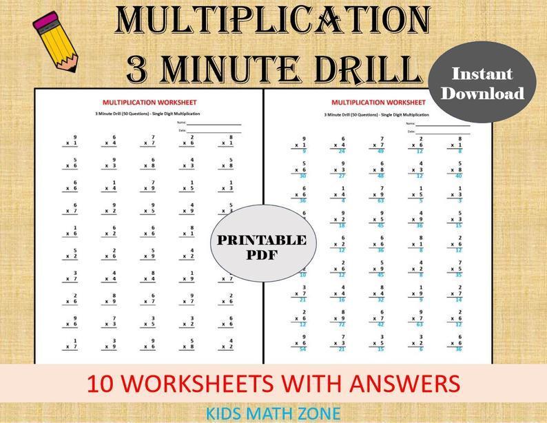Multiplication Worksheets Minute Drills 3