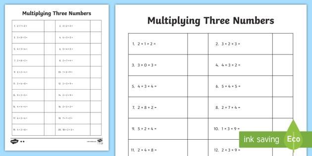 Multiplication Worksheets Number 3 1