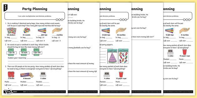 Multiplication Worksheets Remainders 3