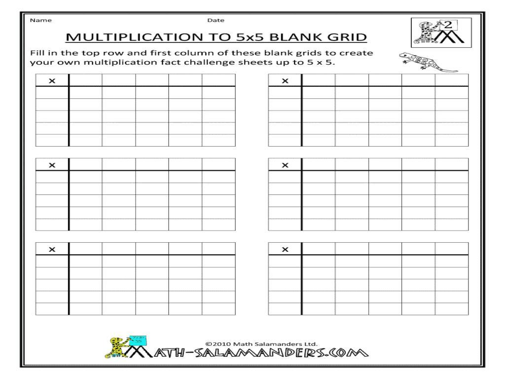 Multiplication Worksheets Up To 5×5 1