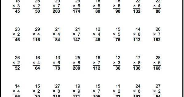 Multiplication Vertical Worksheets Answer Key 3