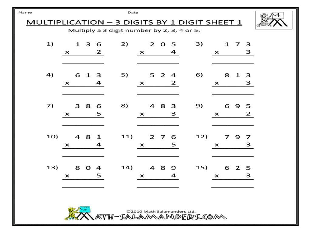 Multiplication Vertical Worksheets Answer Key 7