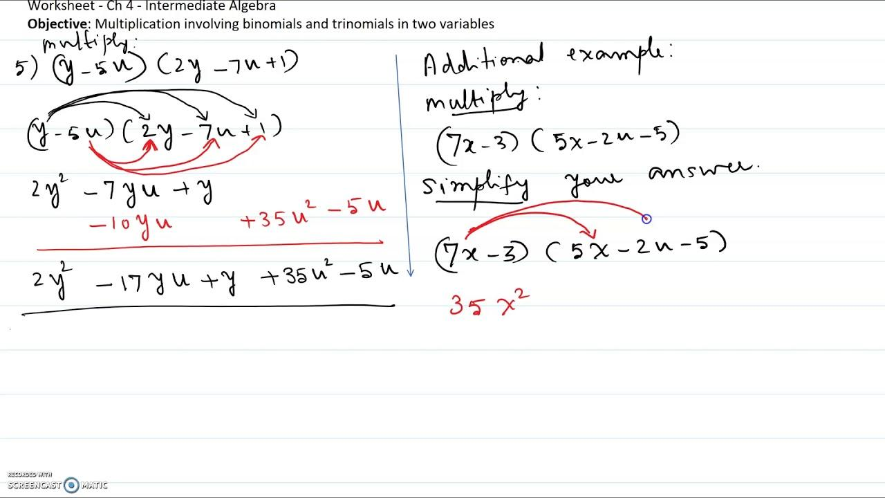 Multiplication With Variables Worksheets 1