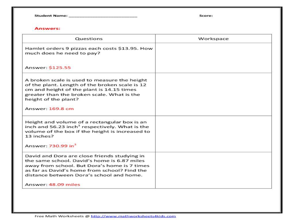 Multiplication Worksheets Word Problems Ks2
