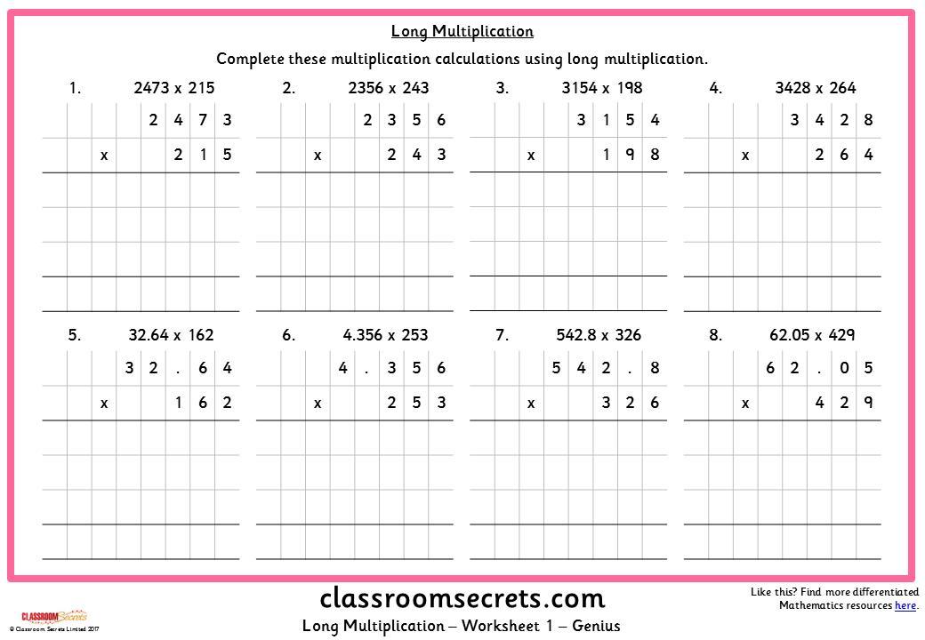 Multiplication Worksheets Year 5 Australia