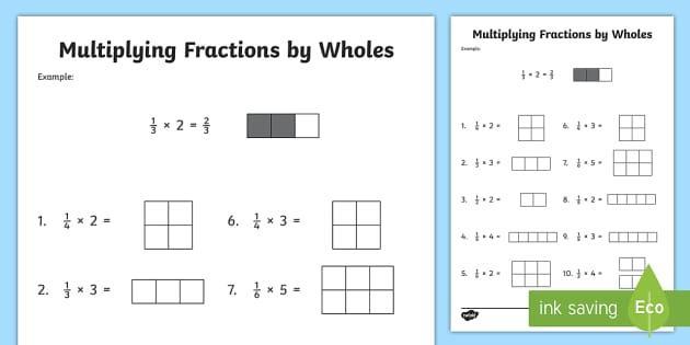 Multiplying Fractions Visual Model Worksheet