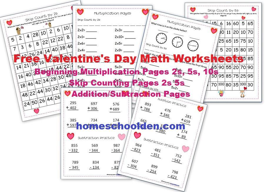 Valentine Math Worksheets First Grade