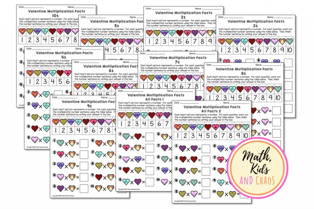 Valentine Multiplication Worksheets Grade 3