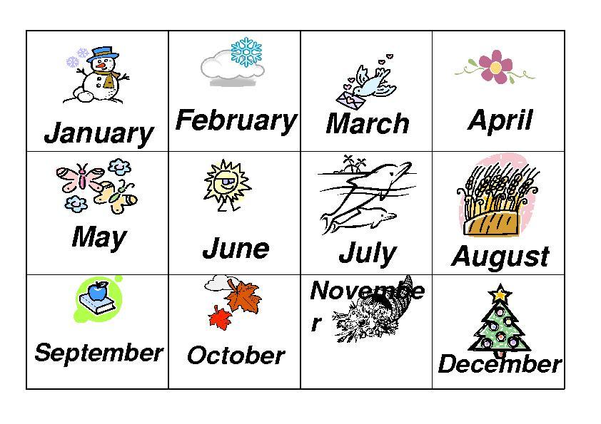 Preschool Months Worksheets