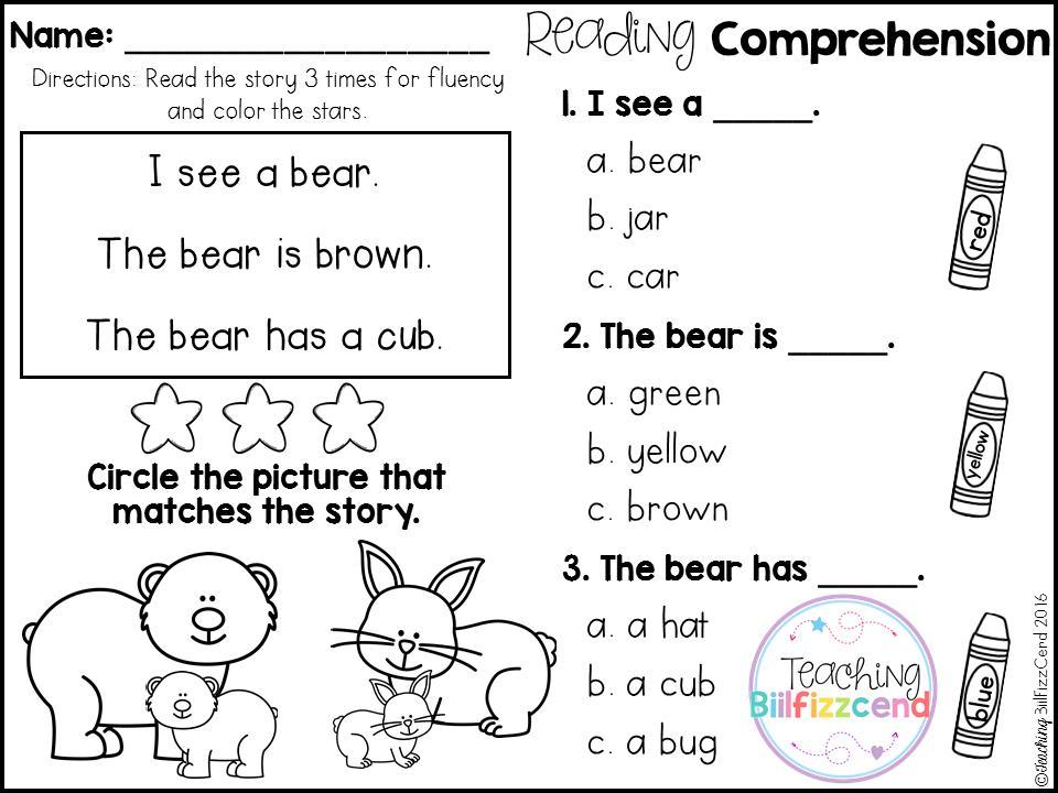 Preschool Reading Comprehension Worksheets Free