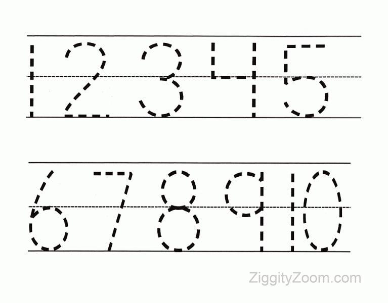 Preschool Worksheets Tracing Numbers 1