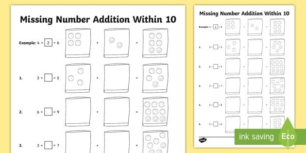 Math Worksheets Addition To 10 2