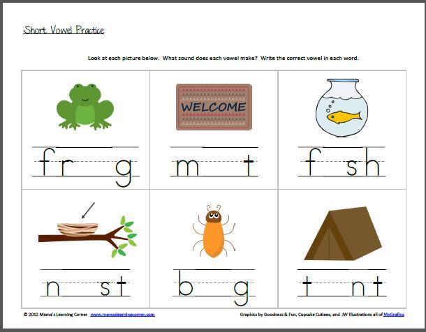Preschool Vowel Worksheets 1