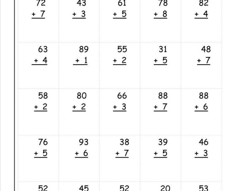 Math Worksheets Double Digit Addition 2