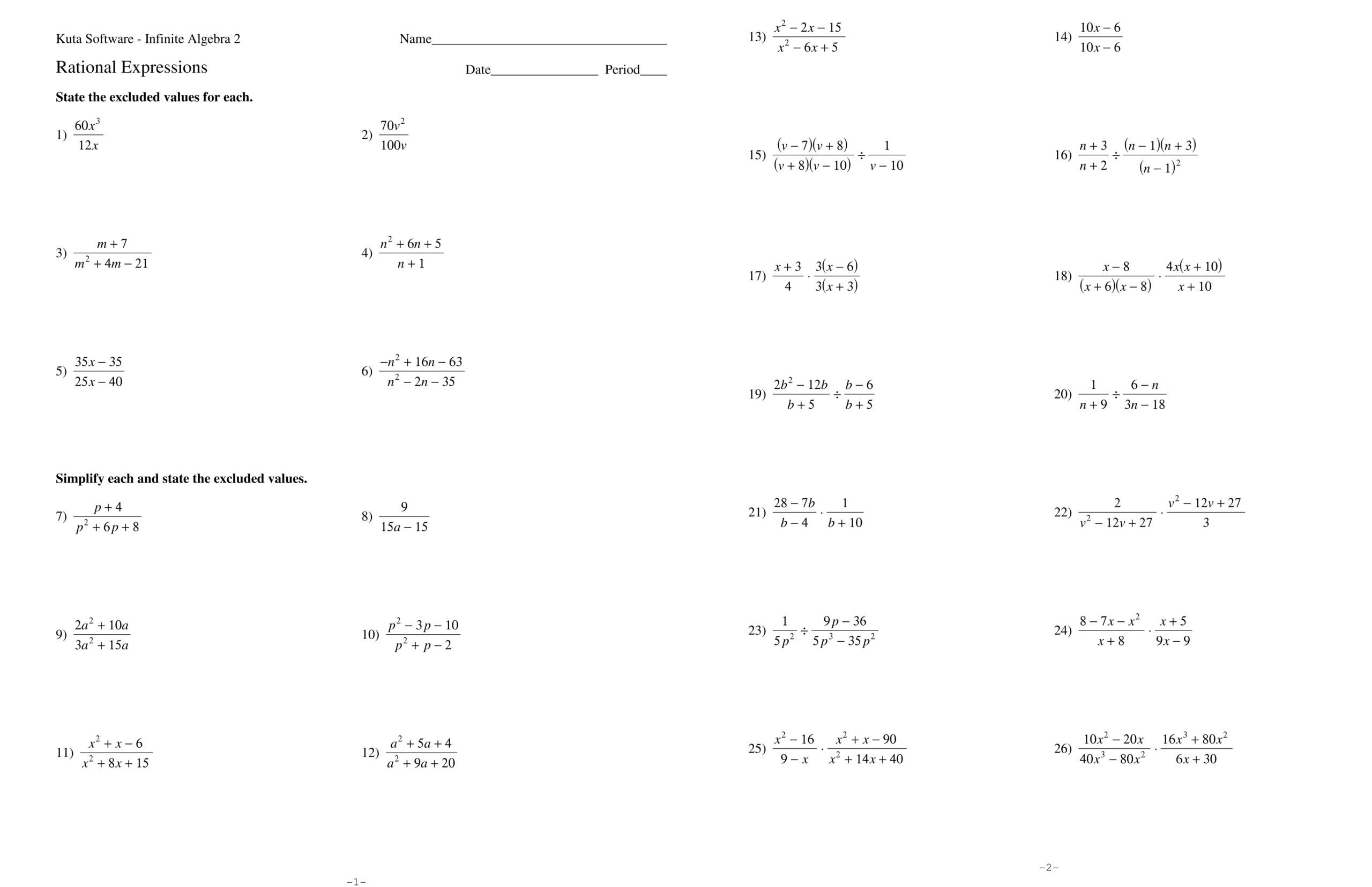 8th Grade Math Worksheets Rational Numbers