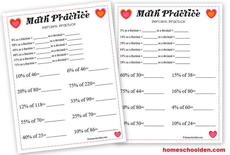 Free Math Worksheets Percentages