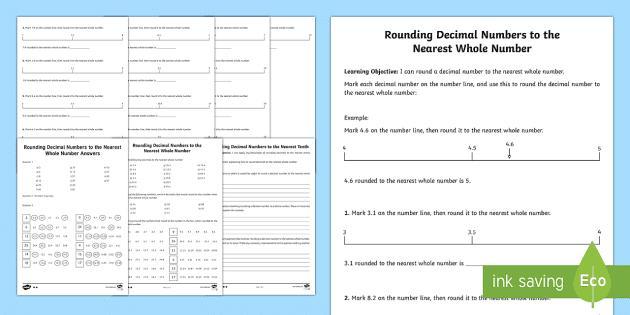Free Printable Math Worksheets Rounding Numbers
