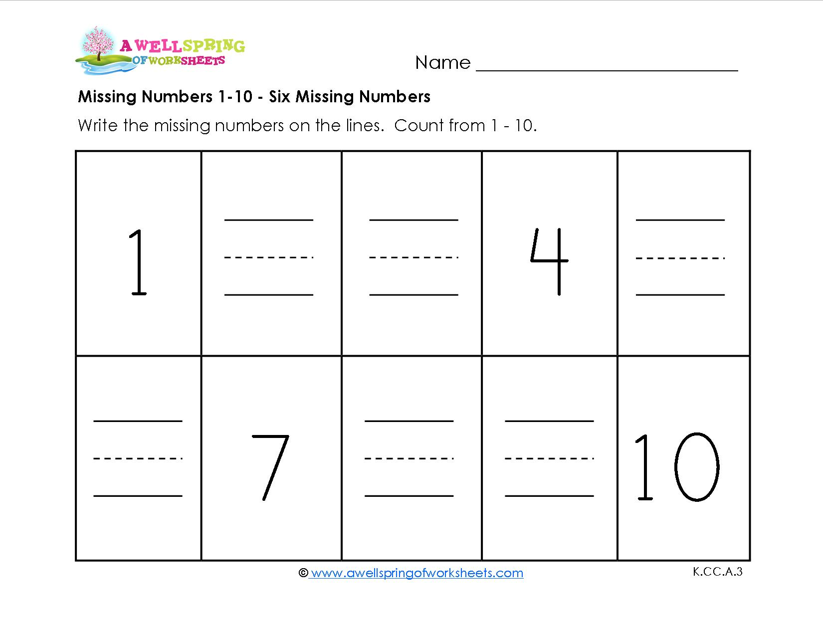 Kindergarten Math Worksheets Missing Numbers