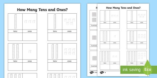 Kindergarten Math Worksheets Tens And Ones
