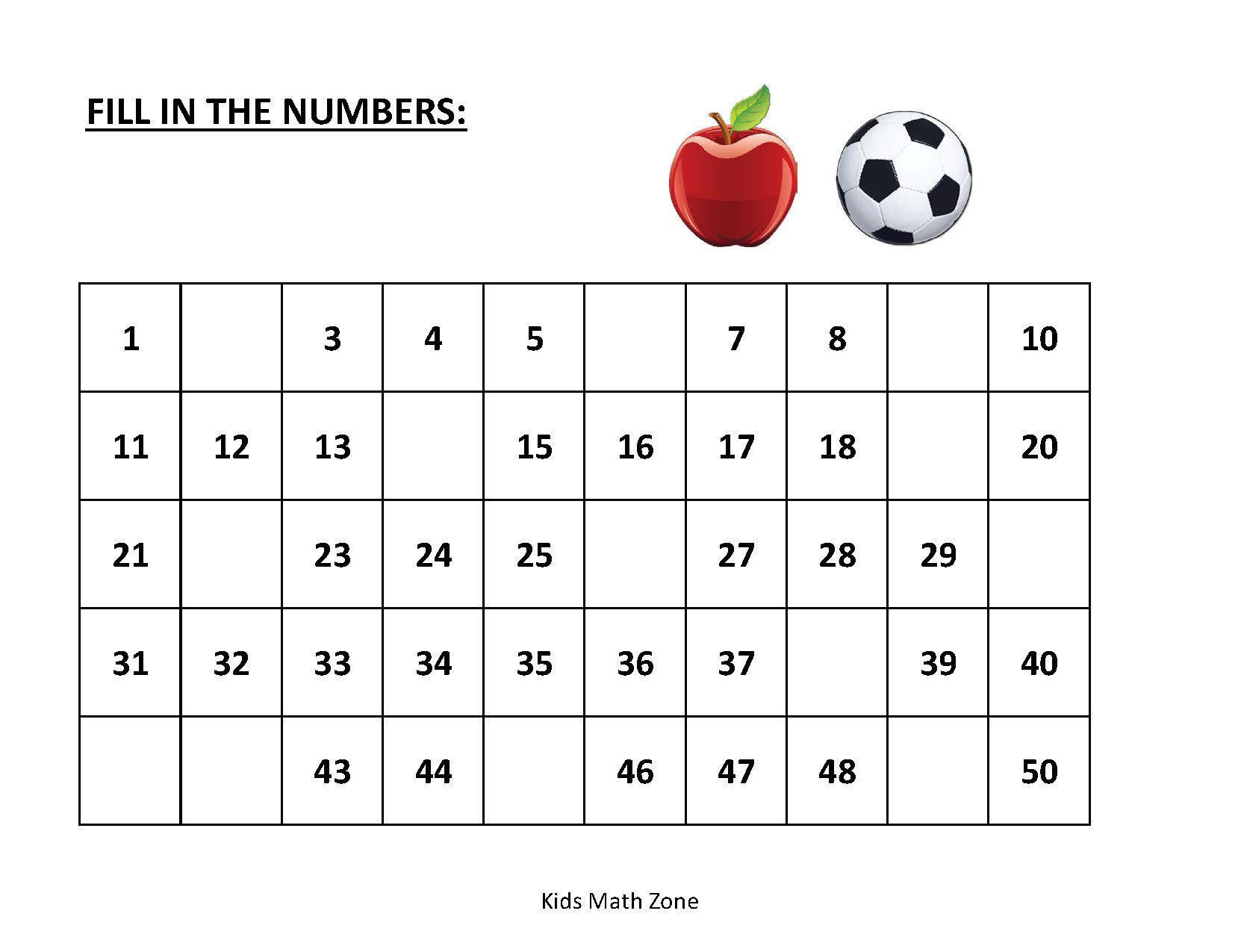 Math Worksheets Numbers 1-20